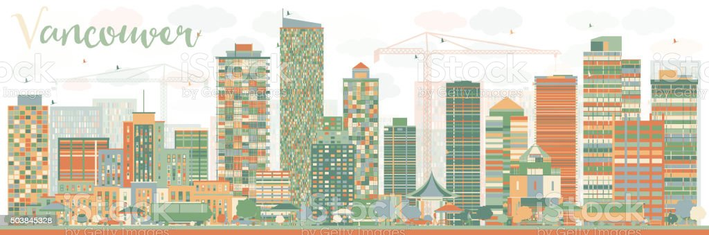 Abstract Vancouver skyline with color landmarks. vector art illustration