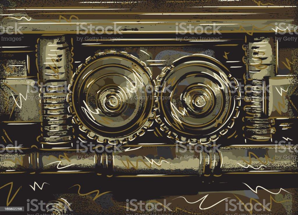 Abstract vault gear mechanism vector art illustration