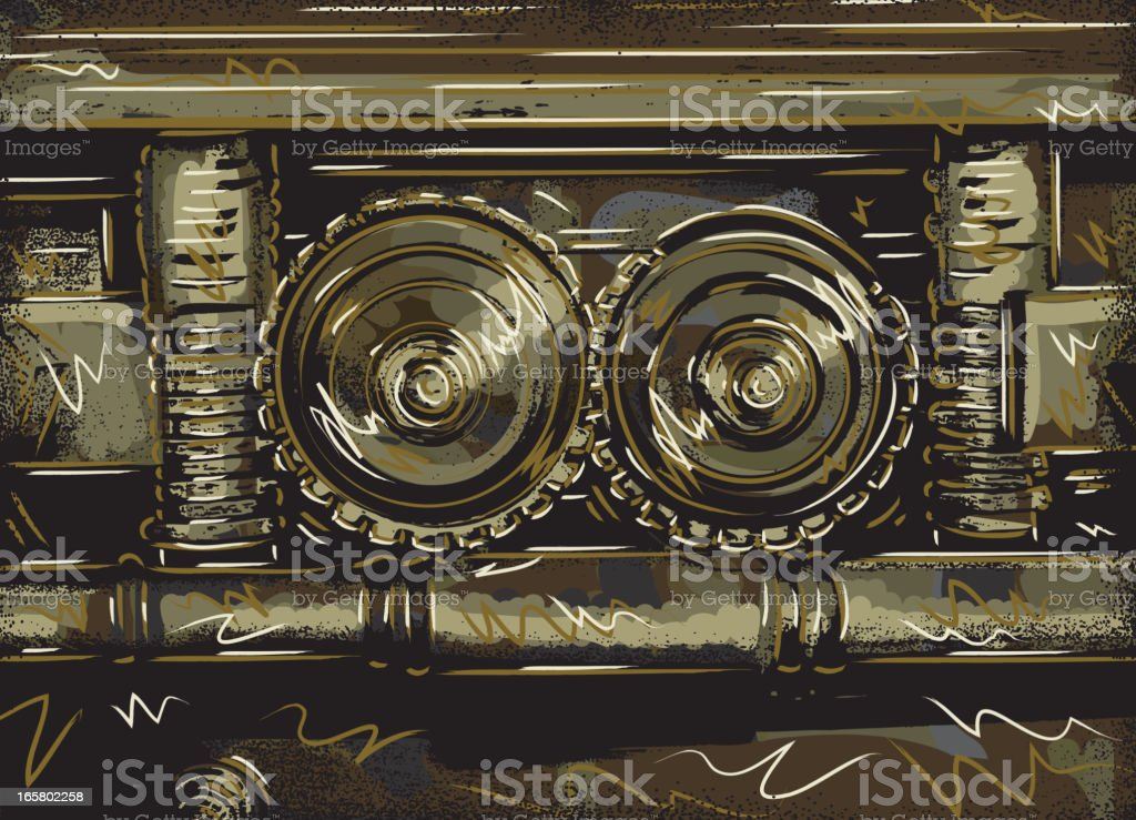 Abstract vault gear mechanism vector art illustration