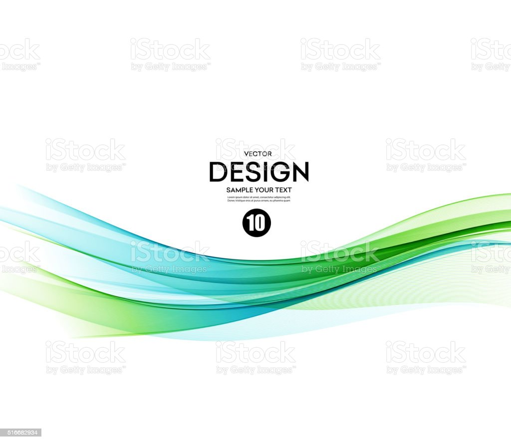Abstract vector background, blue and green wavy vector art illustration