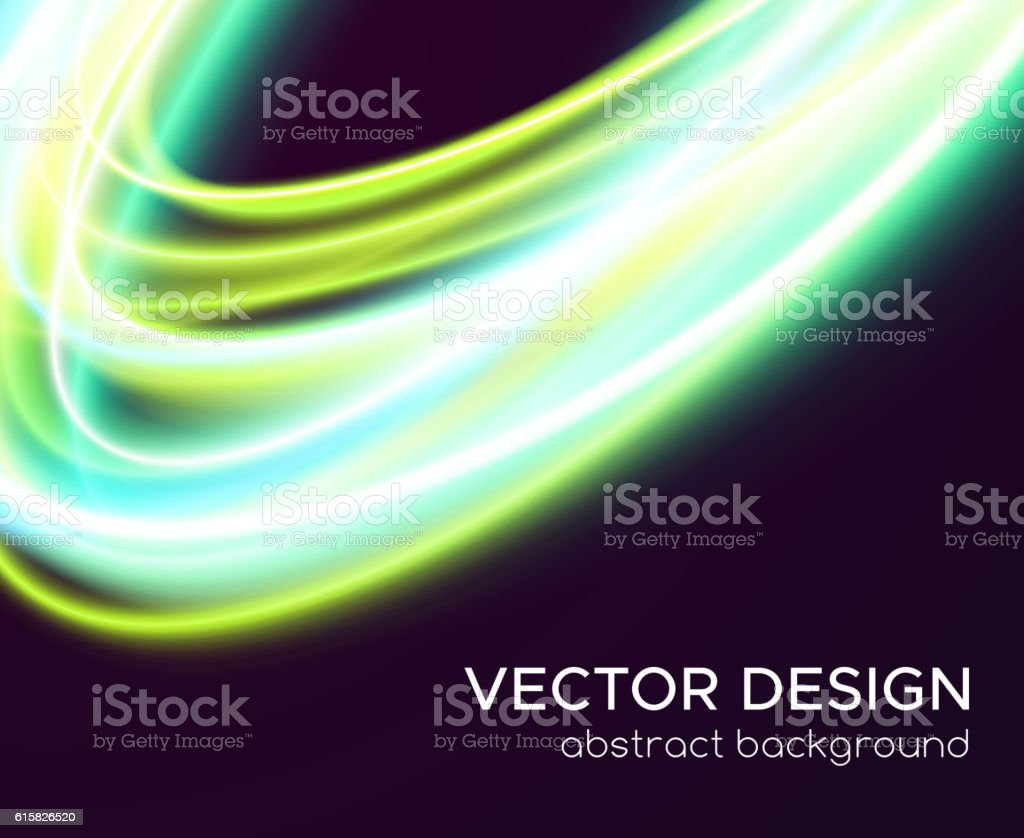 Abstract vector background with glowing curves vector art illustration
