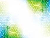Abstract vector background with hexagon pattern and shiny effect.