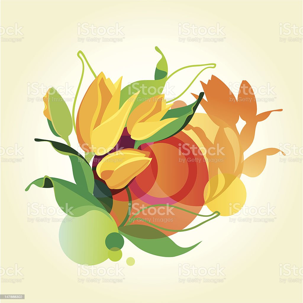 Abstract vector background with tulips. royalty-free stock vector art