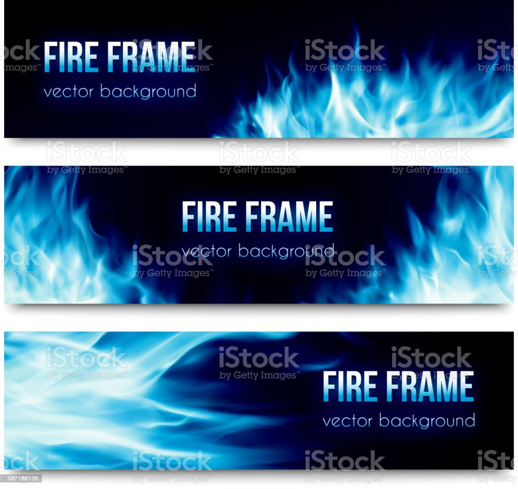 Abstract vector banners set with blue fire flames vector art illustration