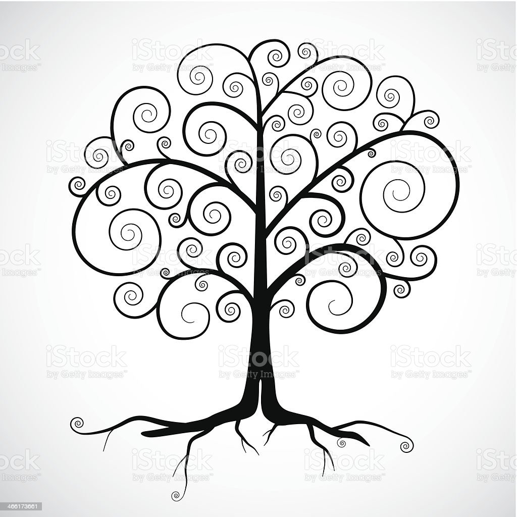 Abstract Vector Black Tree Illustration vector art illustration