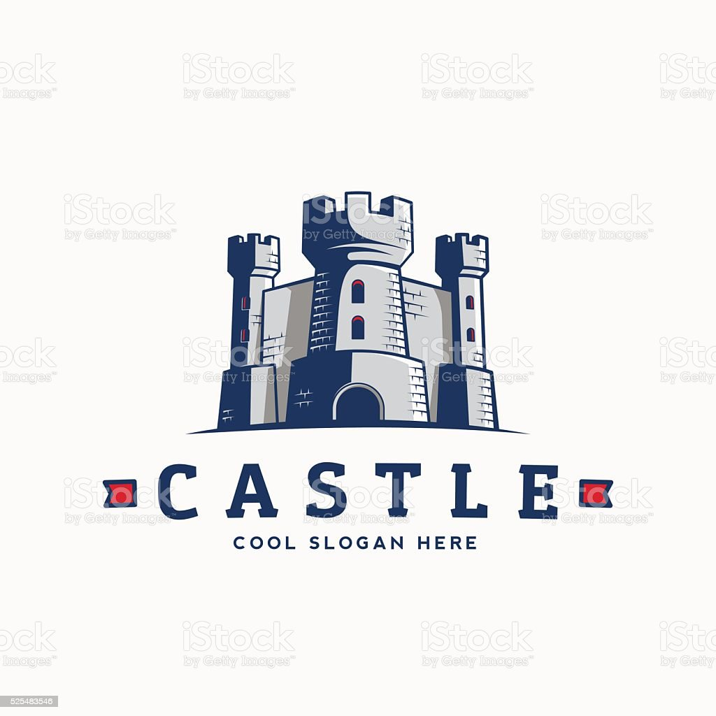 Abstract Vector Castle Label, Sign or Logo Template. Fortress Symbol vector art illustration