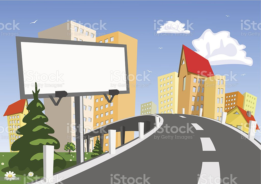Abstract vector city with billboard vector art illustration