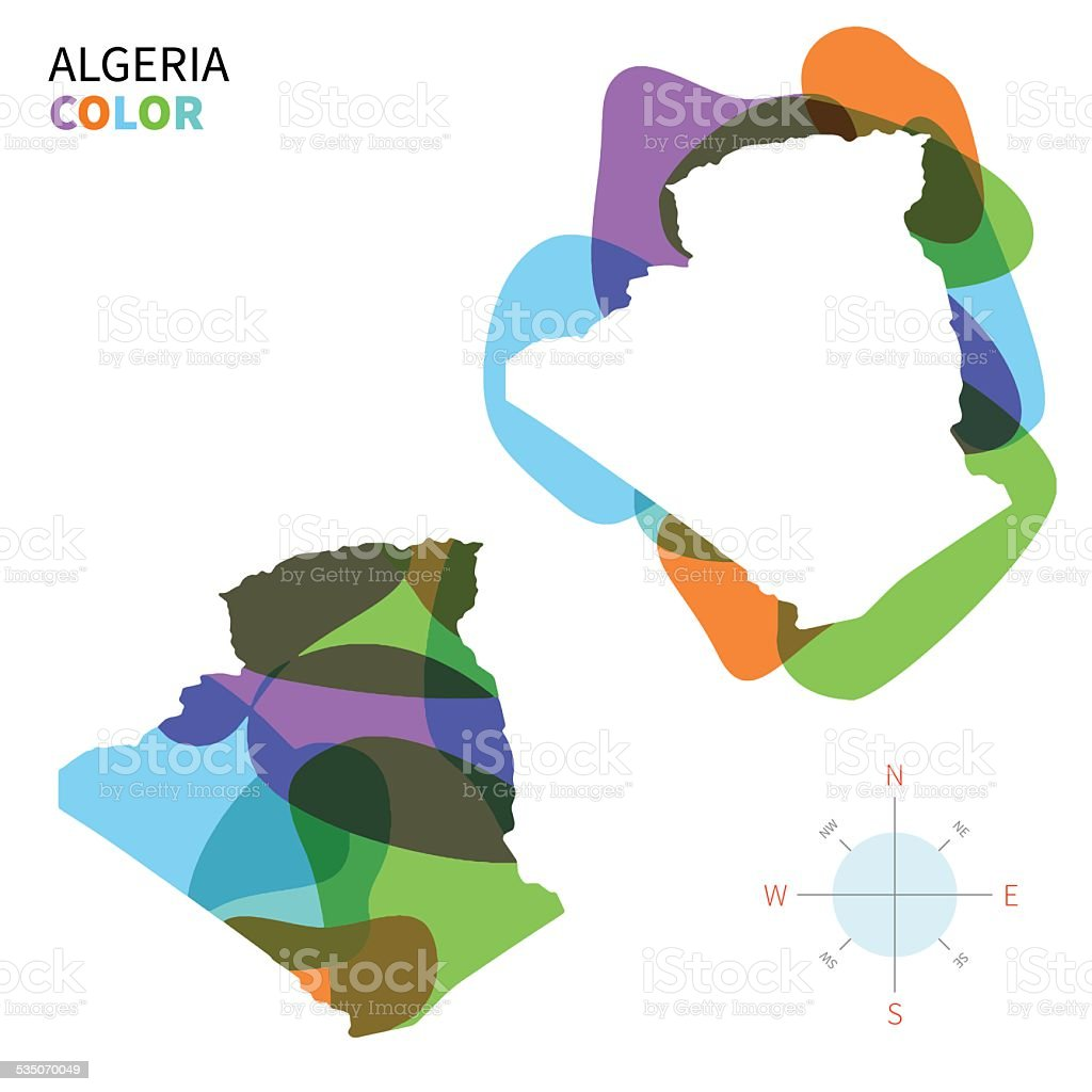 Abstract vector color map of Algeria with transparent paint effect. vector art illustration