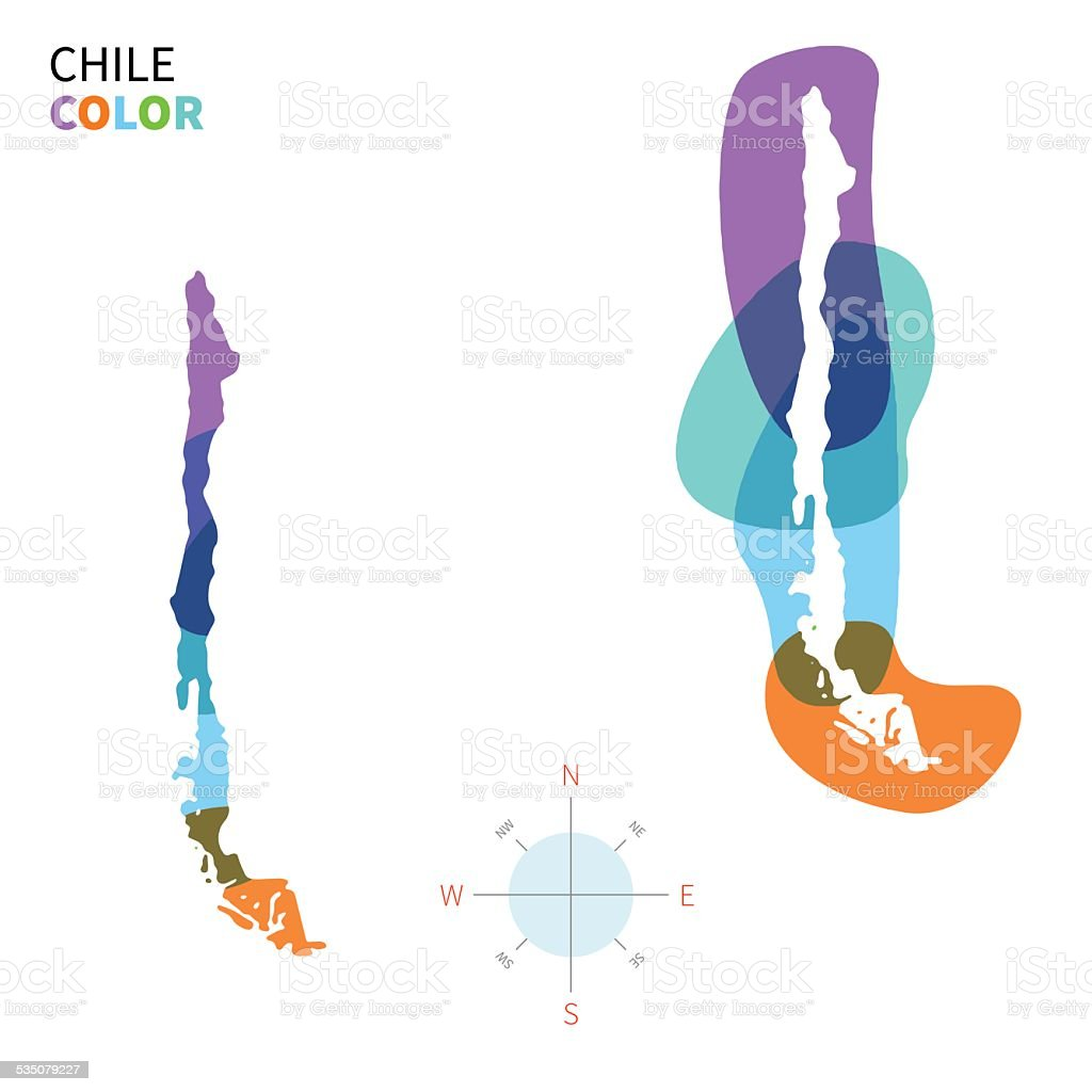 Abstract vector color map of Chile with transparent paint effect. vector art illustration
