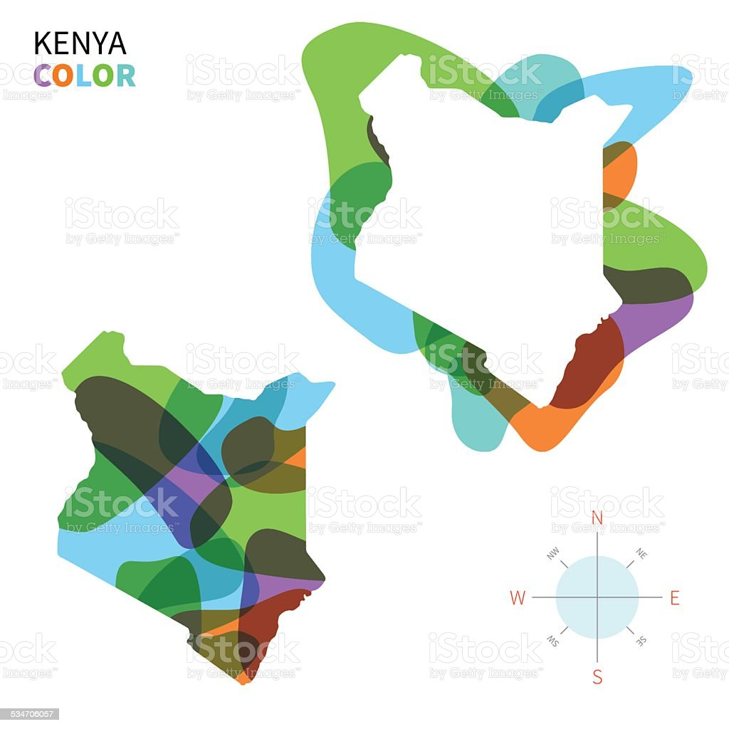 Abstract Vector Color Map Of Kenya With Transparent Paint Effect ...