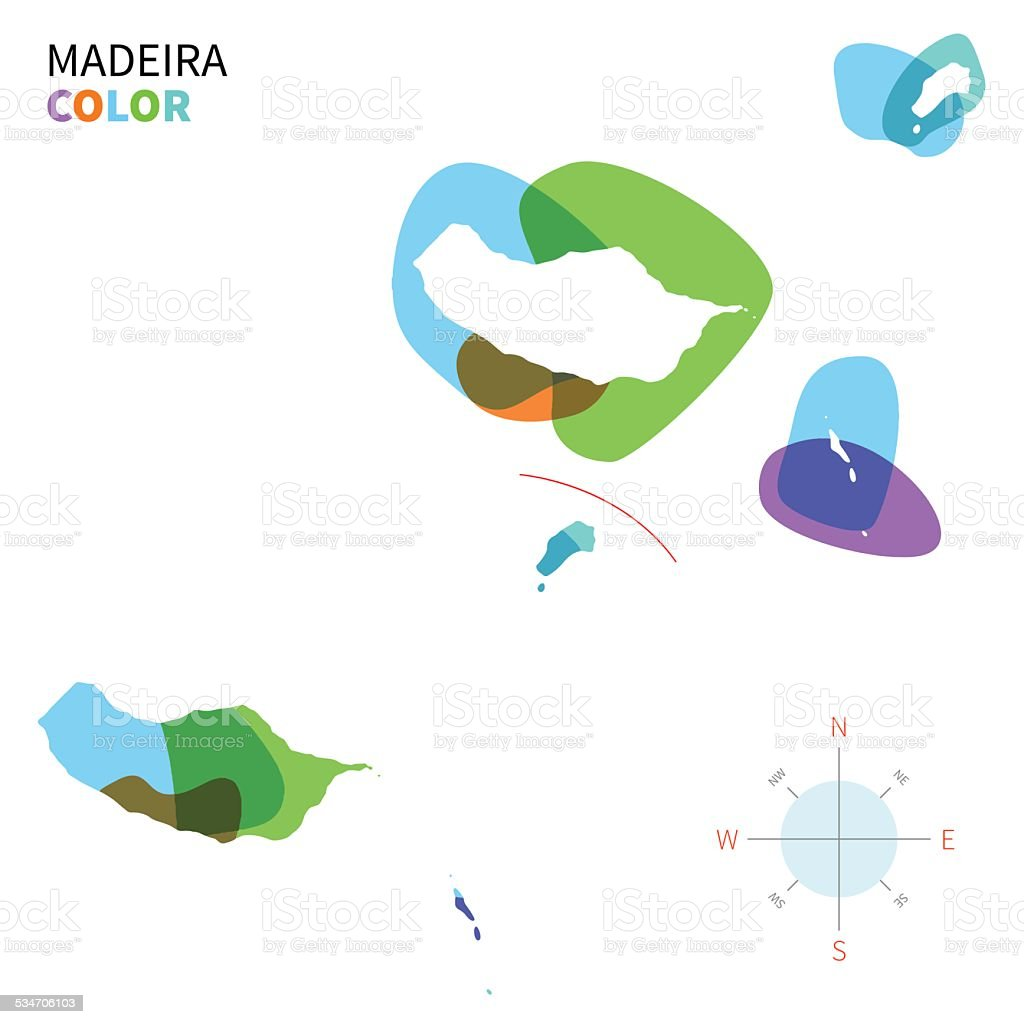 Abstract vector color map of Madeira with transparent paint effect. vector art illustration