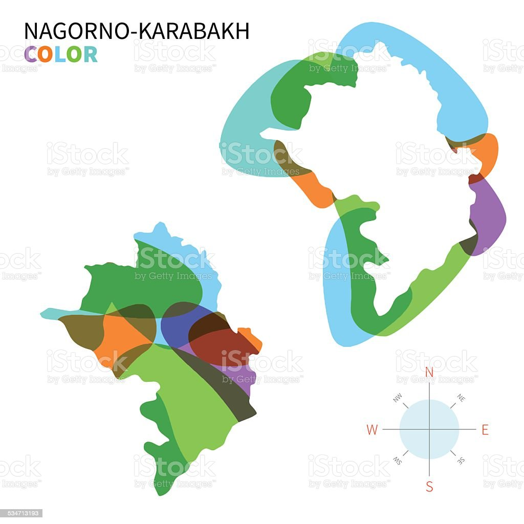 Abstract vector color map of Nagorno-Karabakh with transparent paint effect. vector art illustration