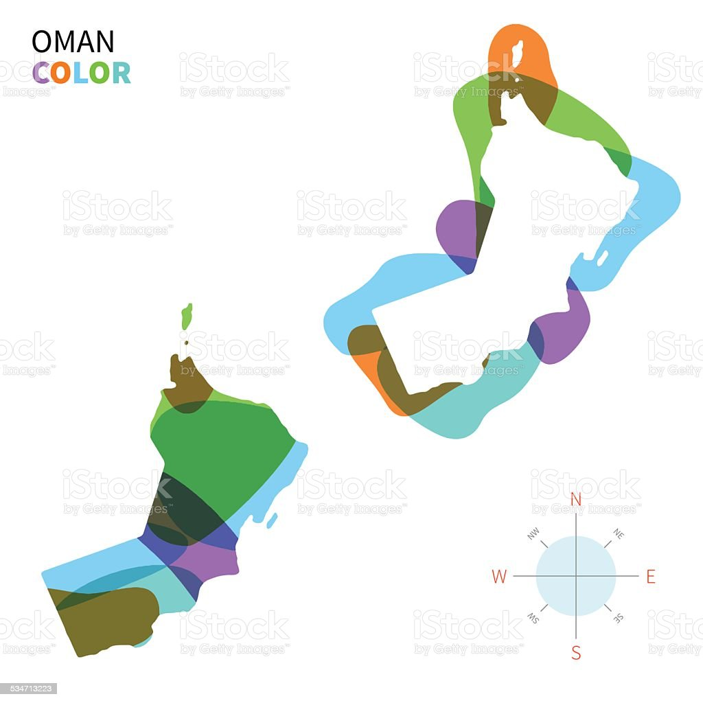 Abstract vector color map of Oman with transparent paint effect. vector art illustration