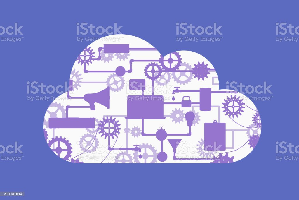 Abstract vector concept of cloud computing vector art illustration