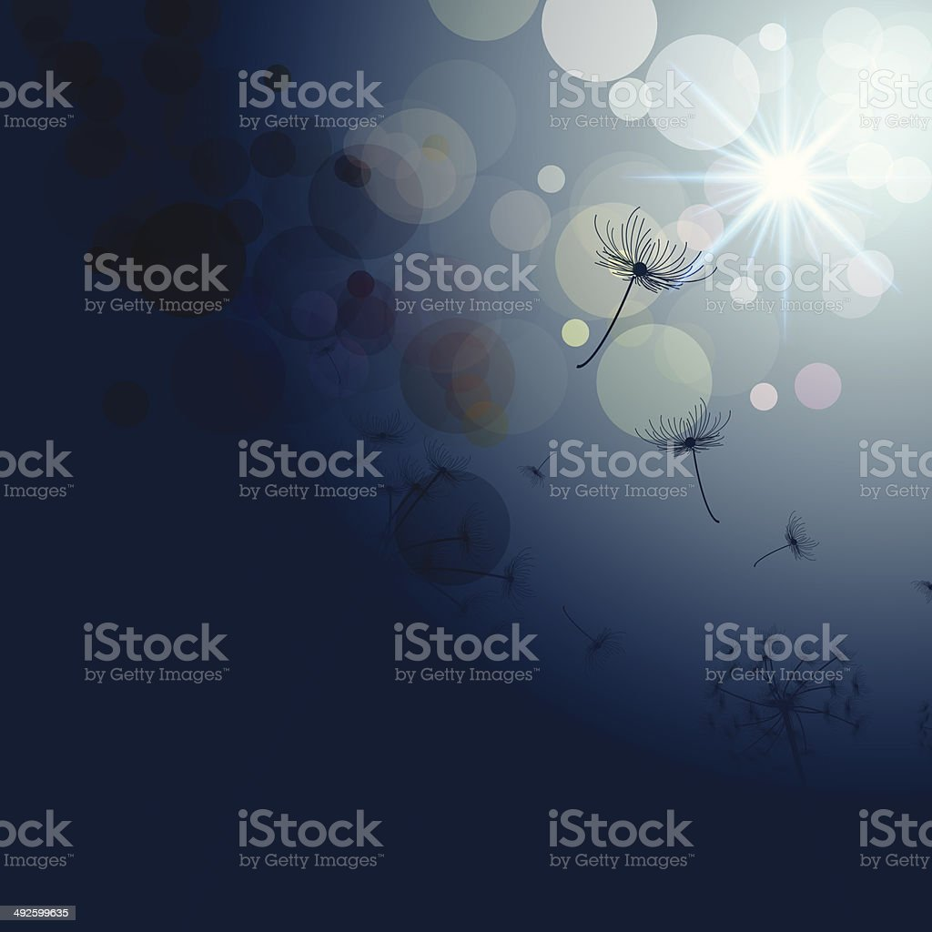 abstract vector dandelion with sunlight background vector art illustration