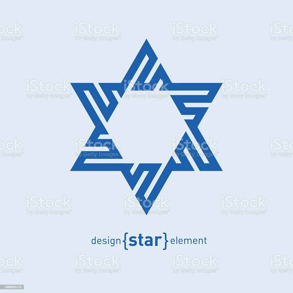 Abstract vector design element blue David star vector art illustration