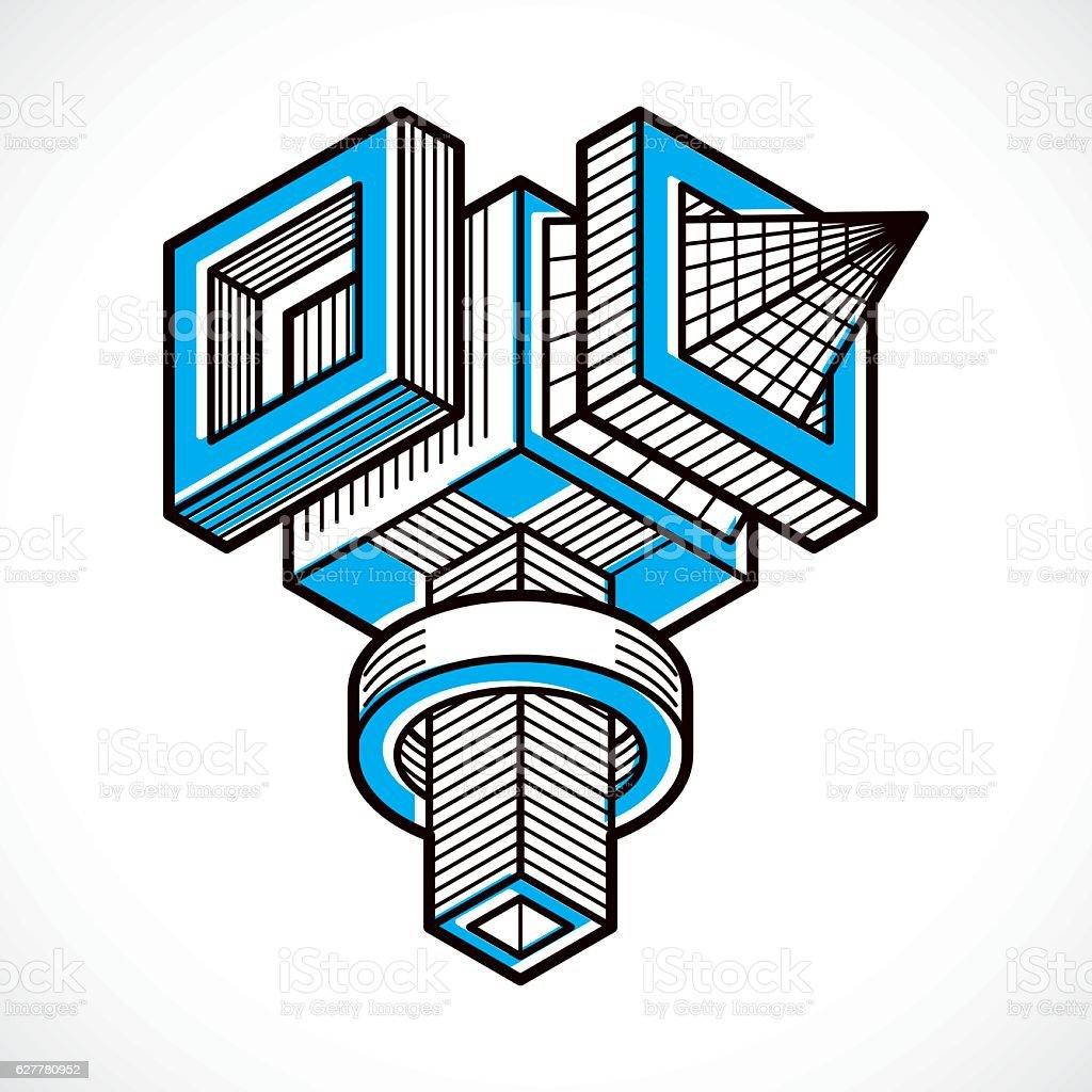 Abstract vector geometric form, 3D creative shape. vector art illustration