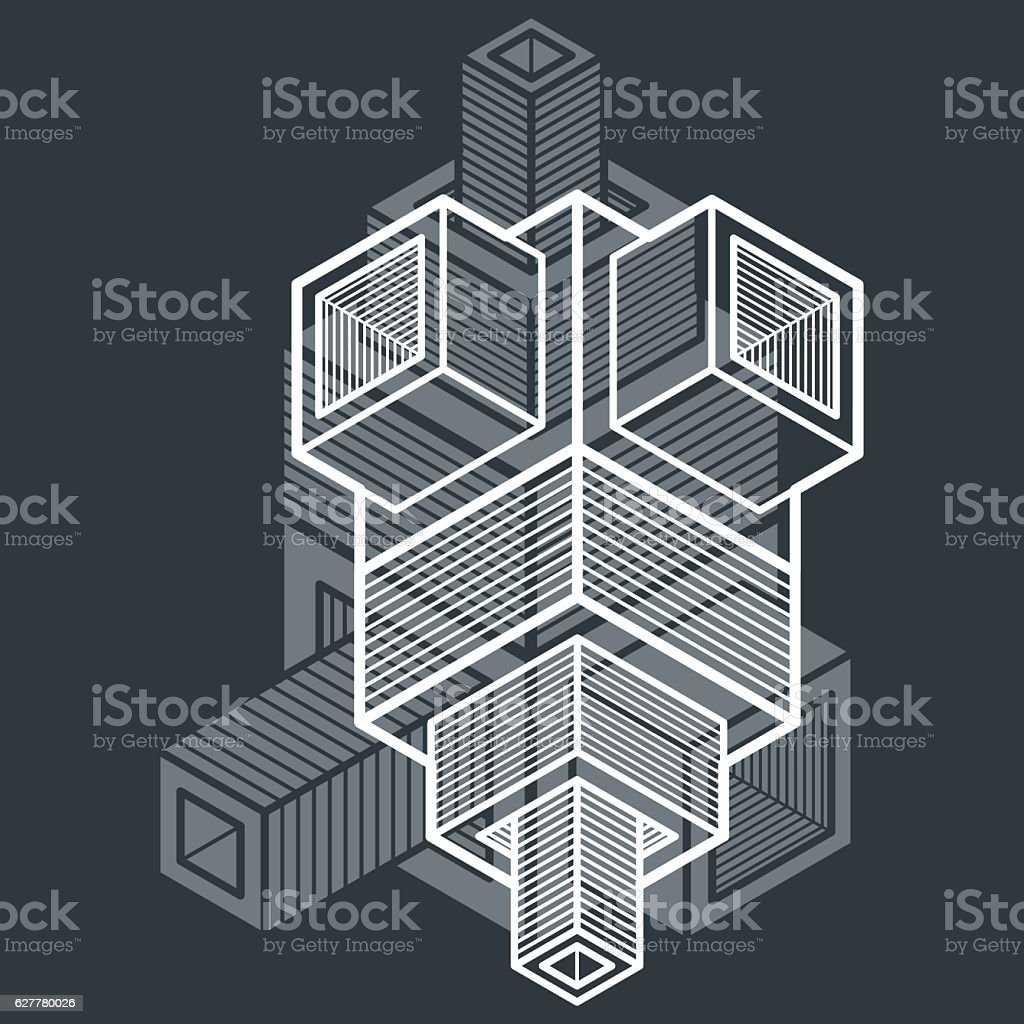 Abstract vector geometric form, 3D polygonal shape. vector art illustration