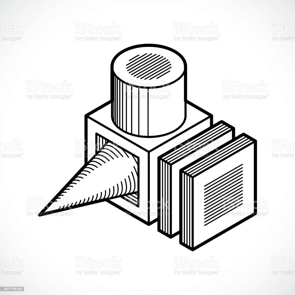 Abstract vector geometric form, 3D shape. vector art illustration