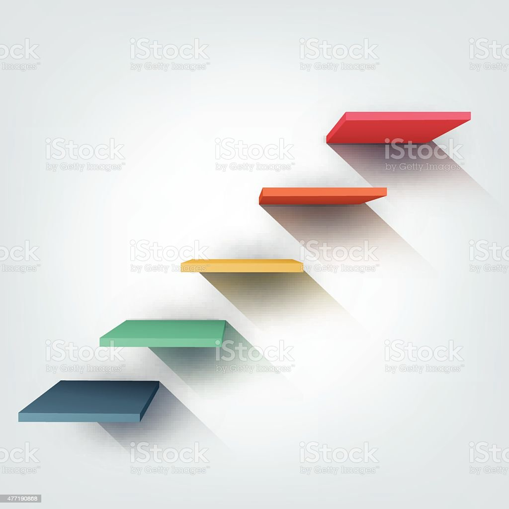 Abstract vector Illustration. Composition of 3d stairs vector art illustration