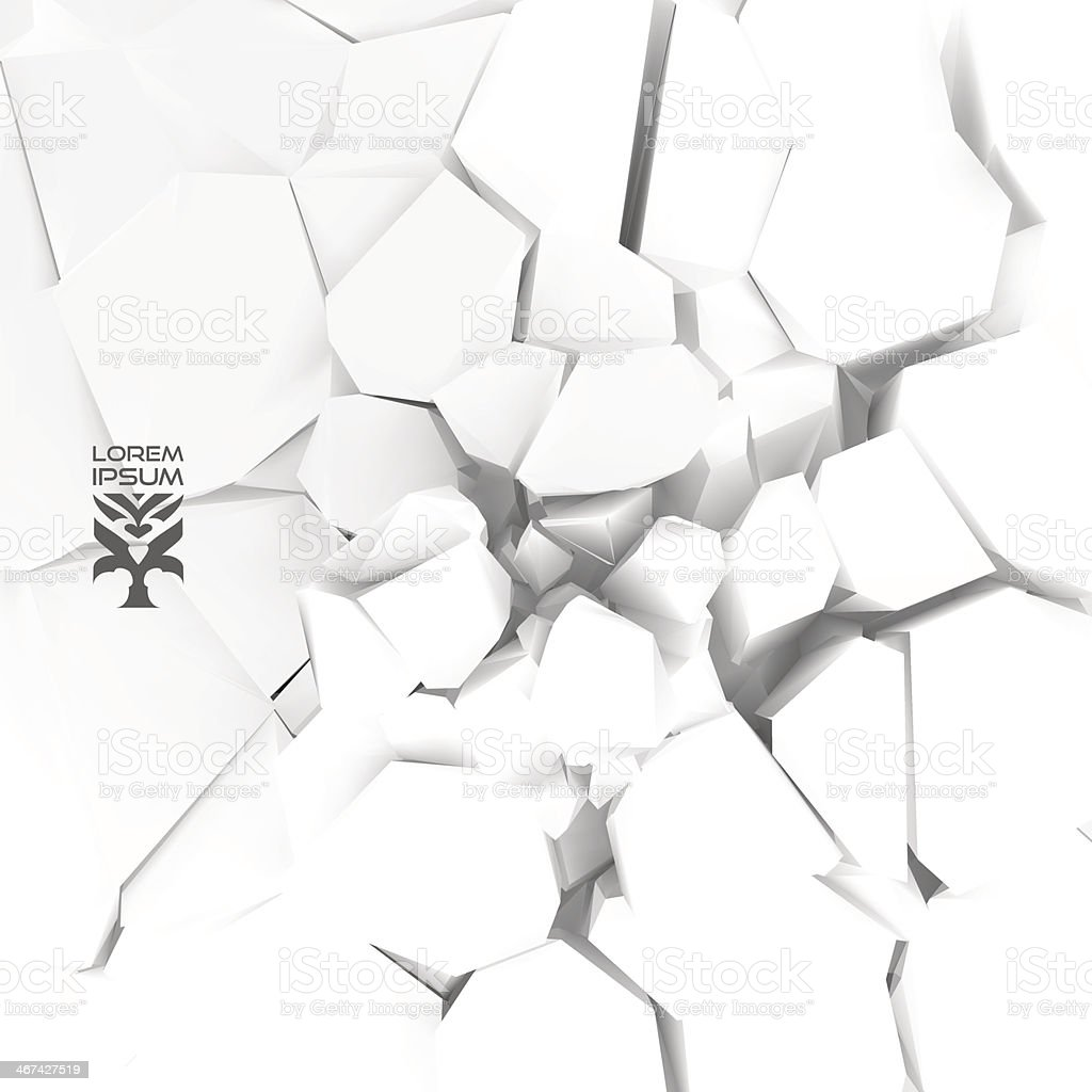 Abstract vector illustration of cracked white background vector art illustration