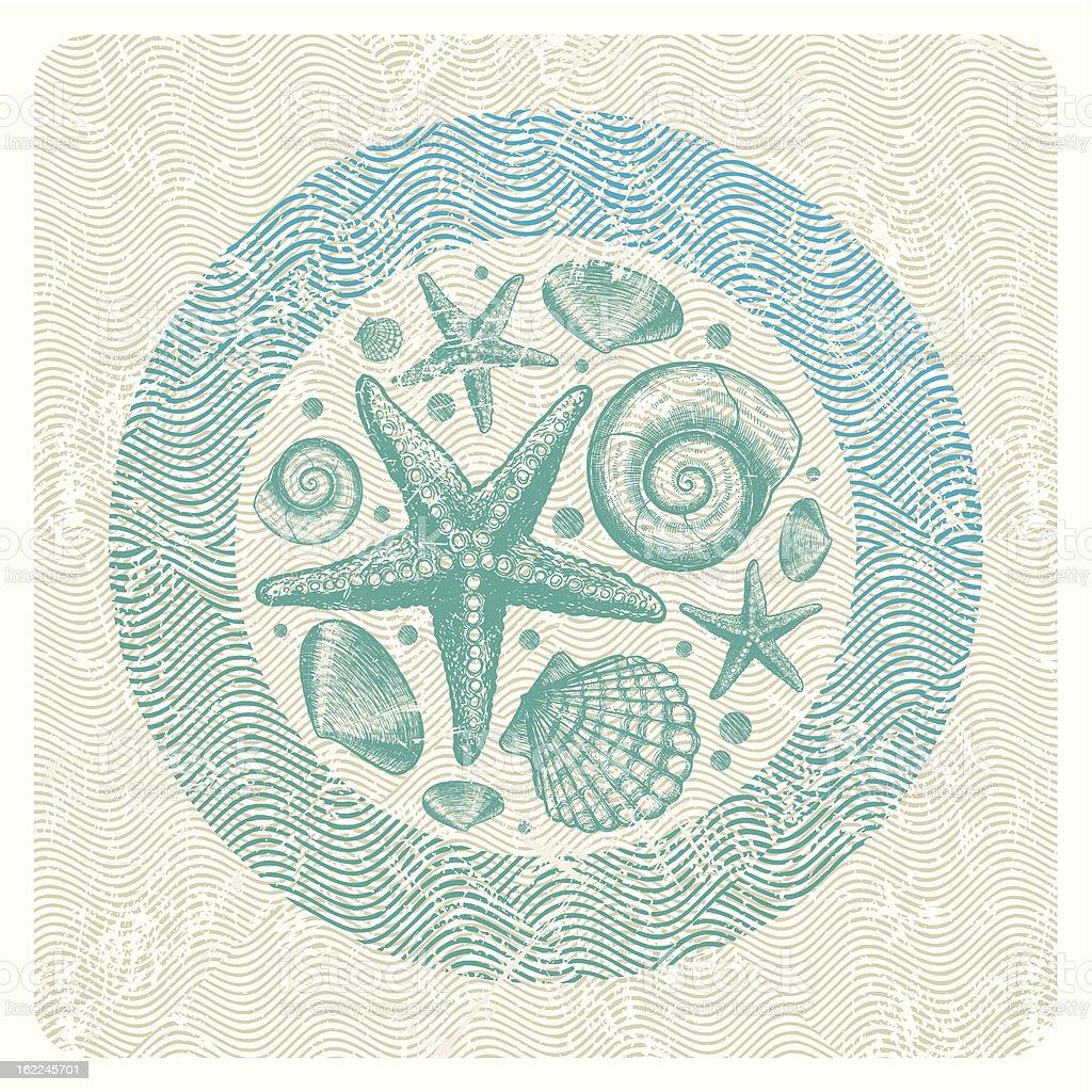 Abstract vector illustration with hand drawn sea fauna vector art illustration