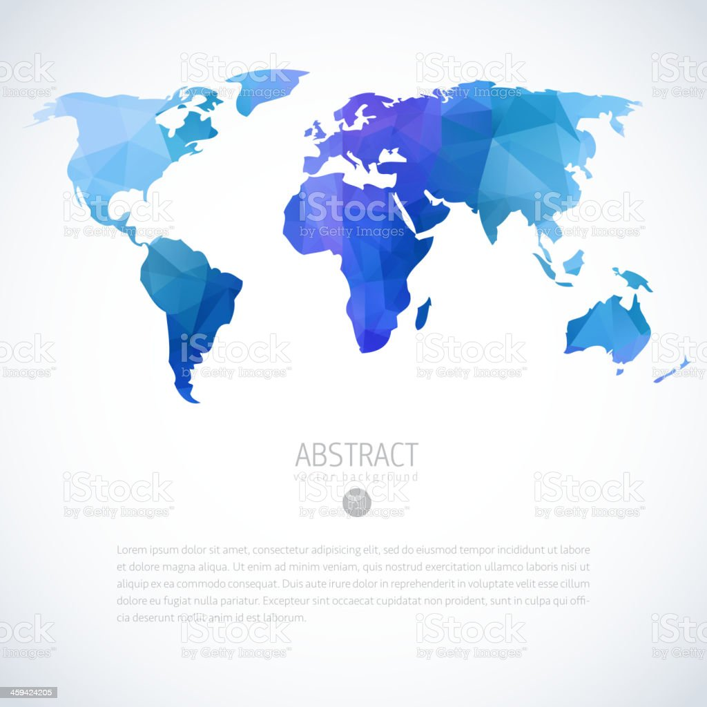 Abstract vector image of blue and purple world map vector art illustration