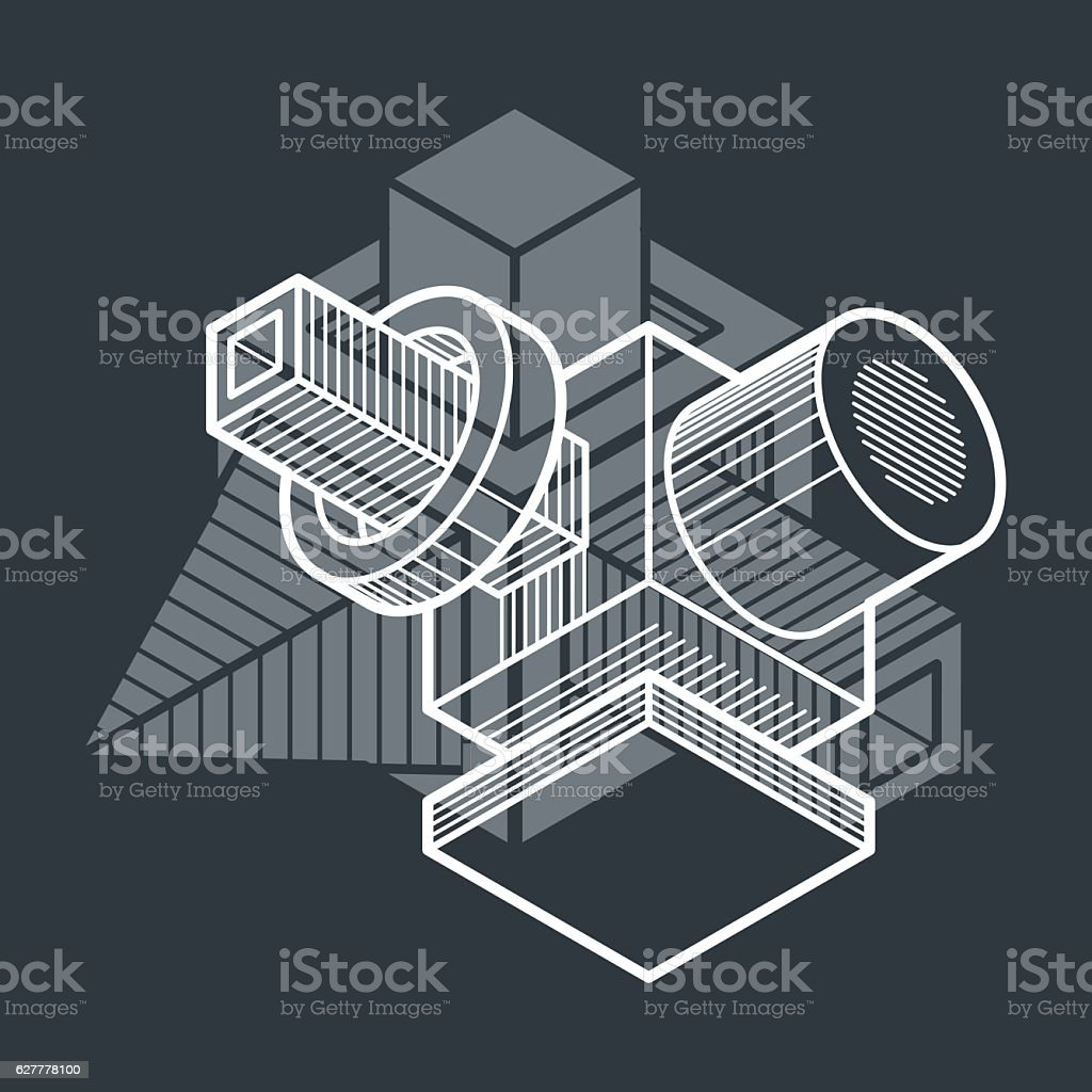 Abstract vector isometric dimensional shape made using geometric vector art illustration