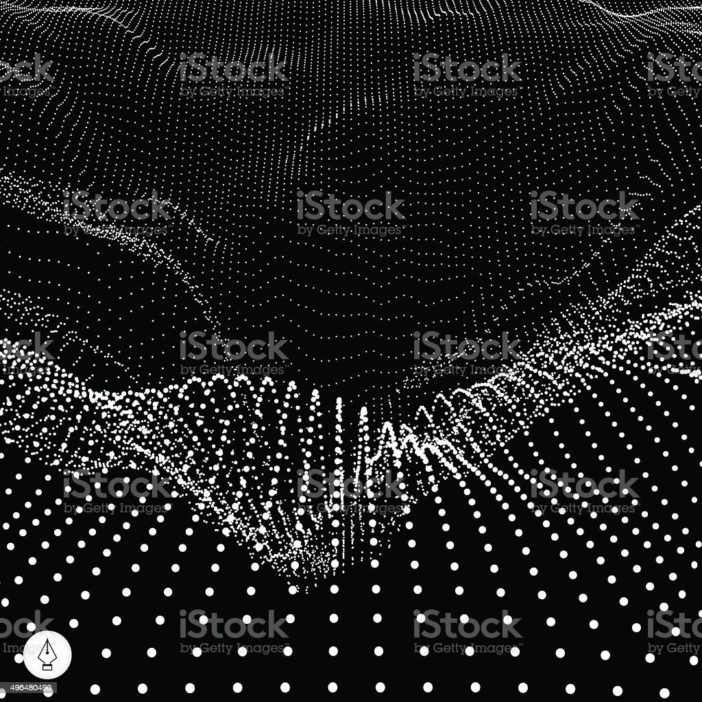 Abstract vector landscape background. 3d technology vector illustration. vector art illustration