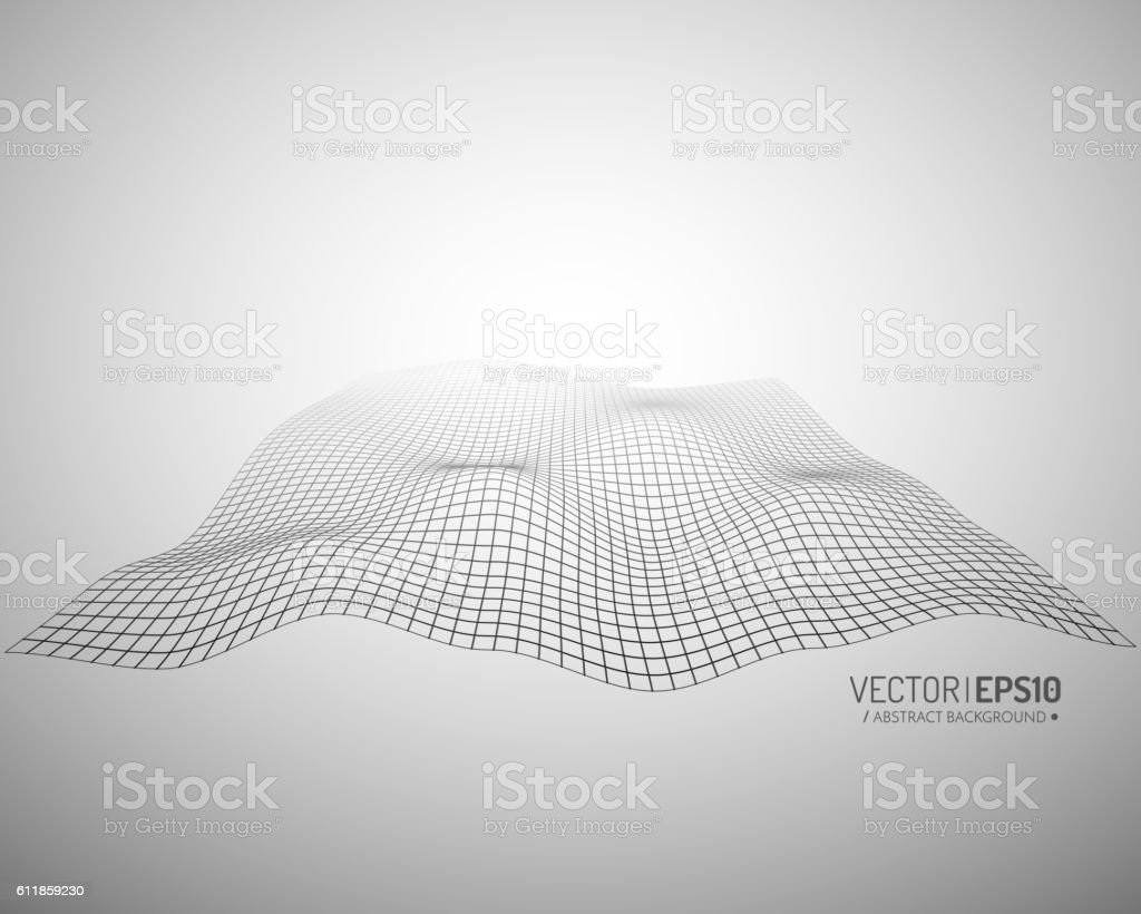 Abstract vector landscape background. Cyberspace grid. 3d technology  illustration. Geometric vector art illustration