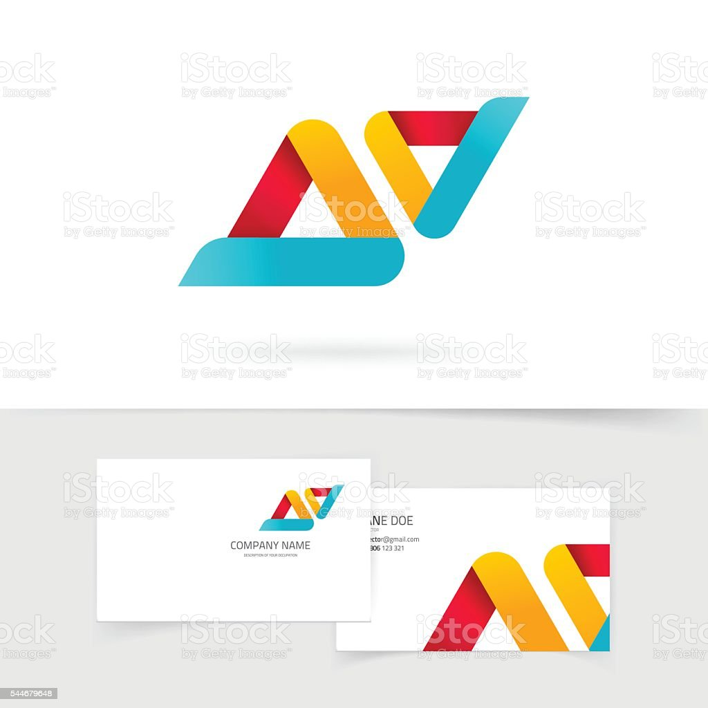 Abstract vector logo isolated, two rounded colorful triangles shape logotype vector art illustration