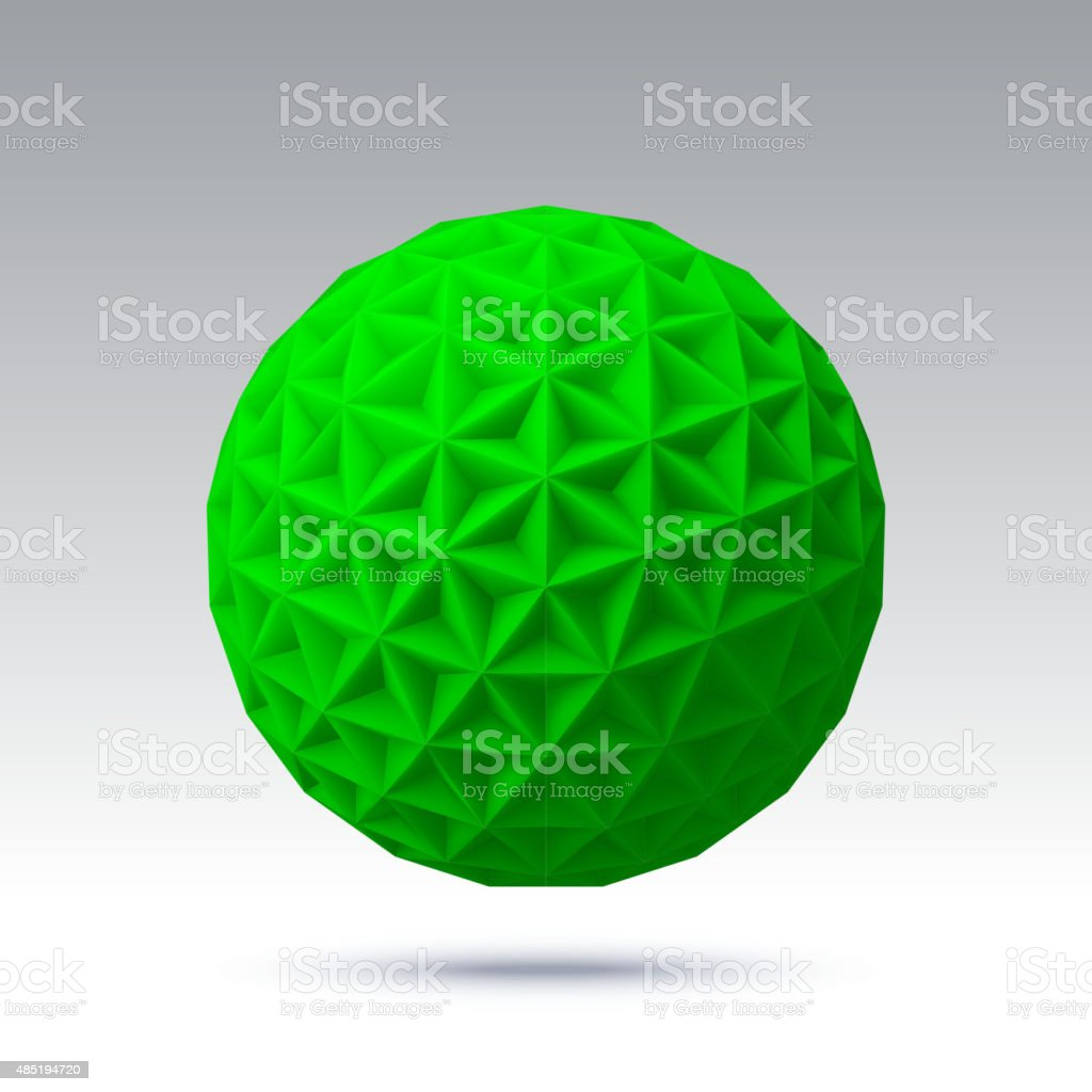 Abstract vector sphere with triangular faces vector art illustration