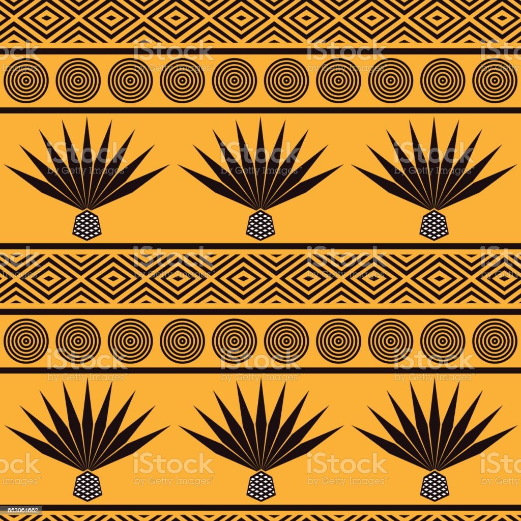 Abstract vector tribal ethnic background. Seamless pattern with blue agave vector art illustration