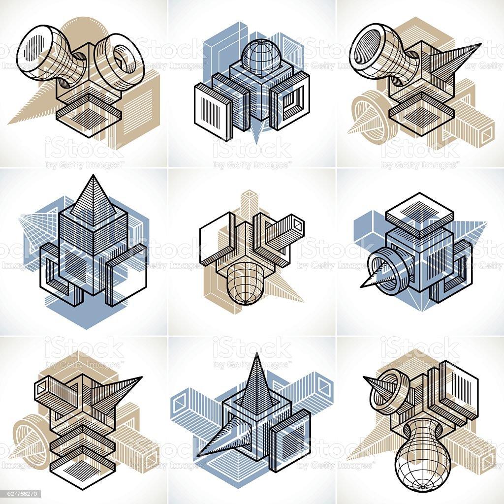 Abstract vectors, 3D simple geometric shapes set. vector art illustration