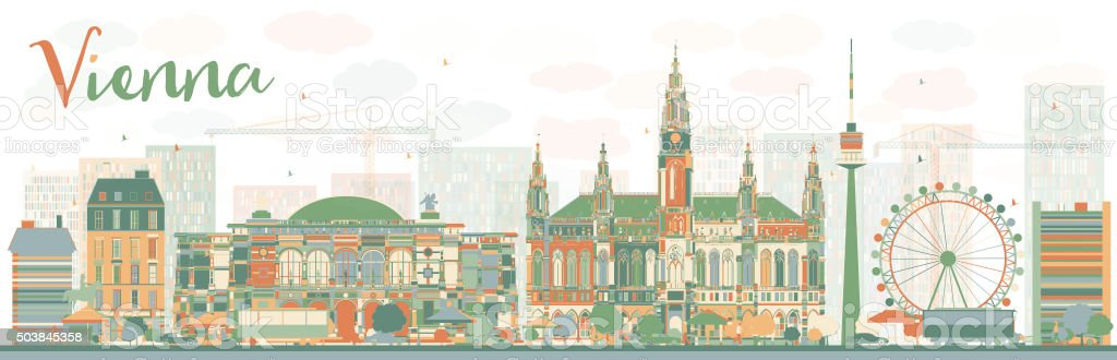 Abstract Vienna skyline with color landmarks. vector art illustration