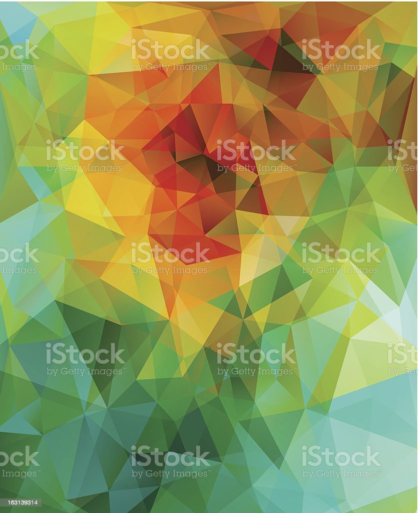 Abstract view of triangles in different colors and hues vector art illustration