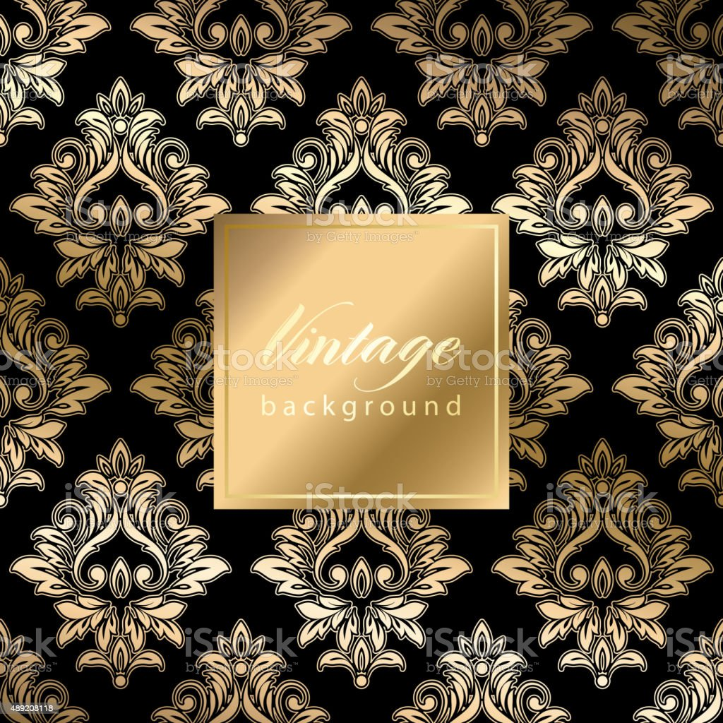Abstract vintage seamless damask pattern vector art illustration