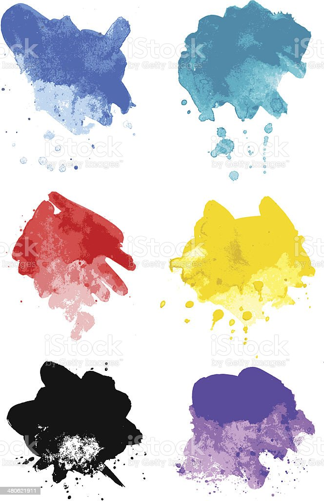 Abstract watercolor paint strokes and splotches vector art illustration