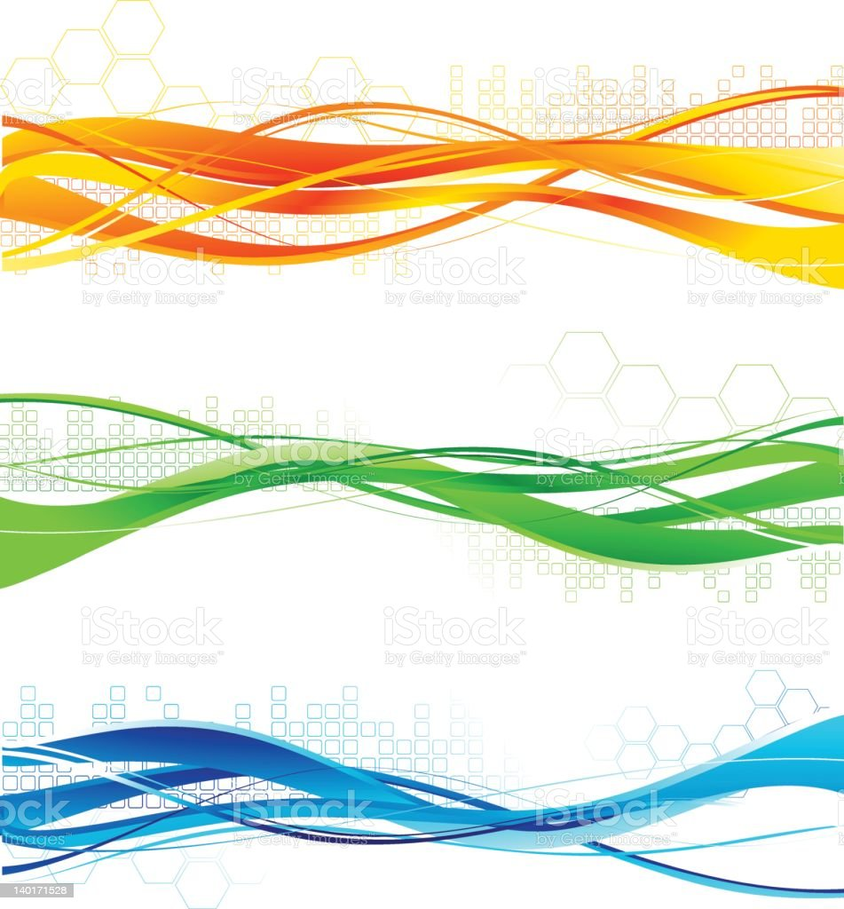 Abstract waves of blue, green, and yellow colors royalty-free stock vector art