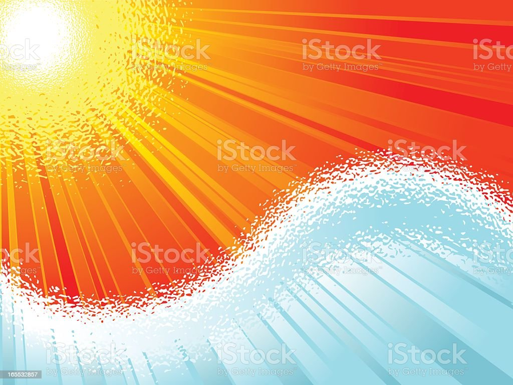 Abstract waves on summertime background royalty-free stock vector art