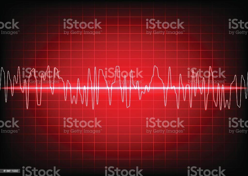 abstract waves oscillating on red background. illustration vector art illustration
