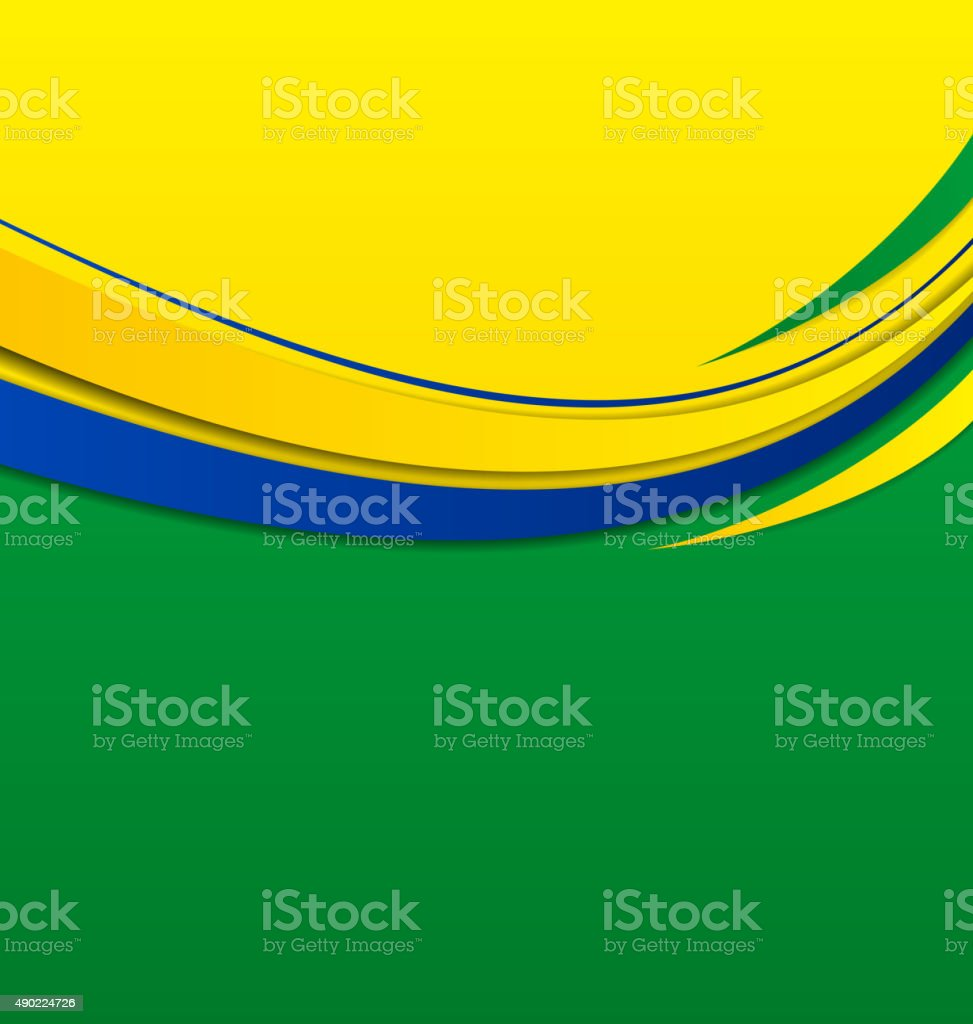 Abstract wavy background in Brazilian colors vector art illustration