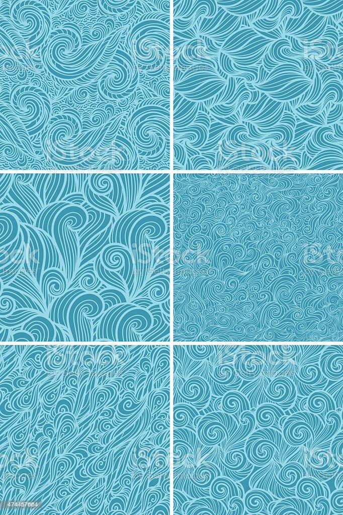 Abstract wavy pattern set vector art illustration