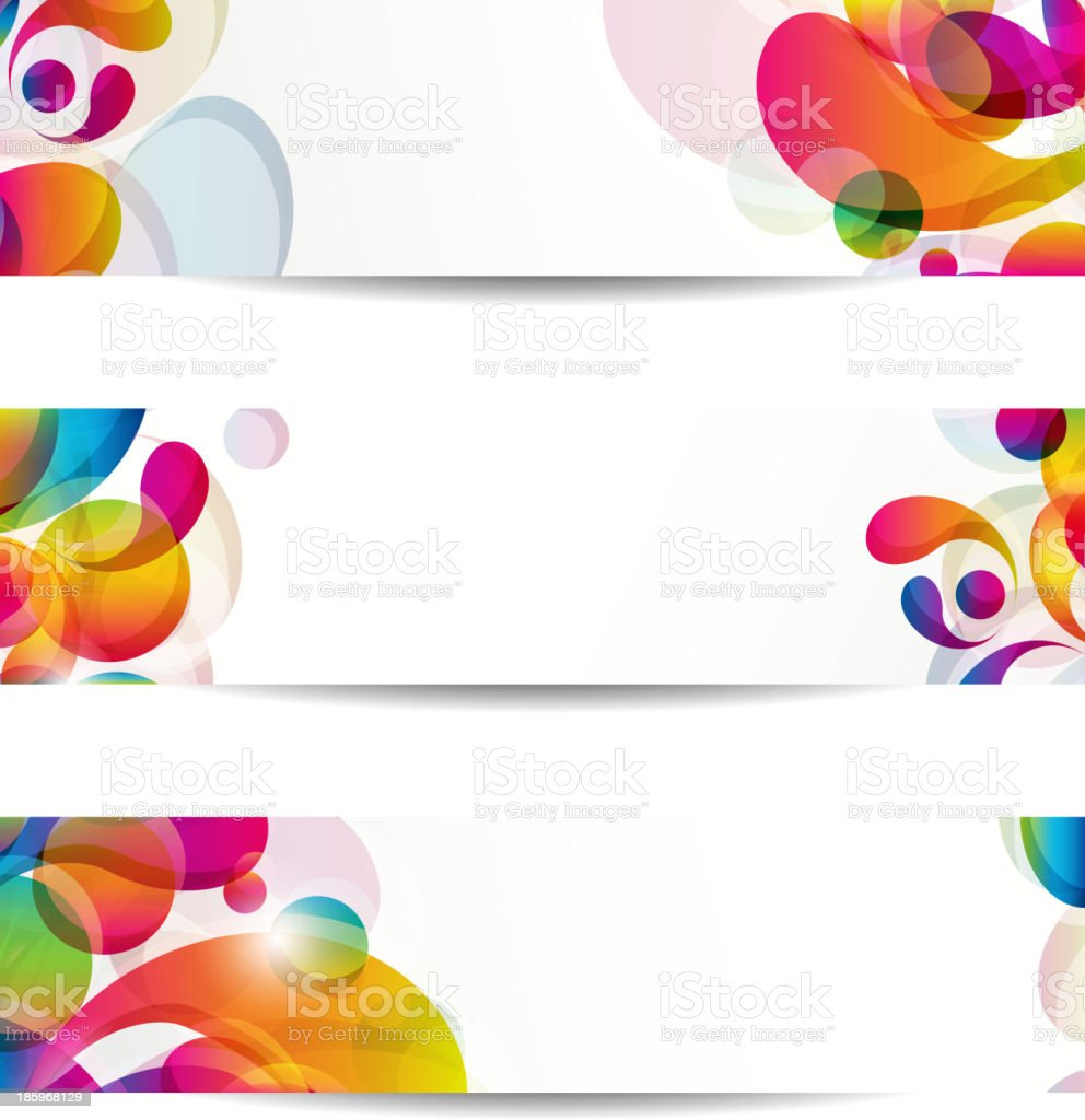 Abstract web banners with colorful arc-drop for your www design royalty-free stock vector art