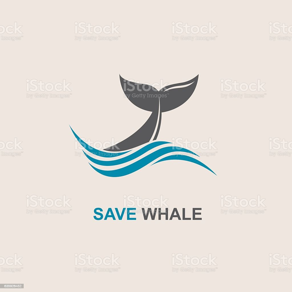 abstract whale icon vector art illustration