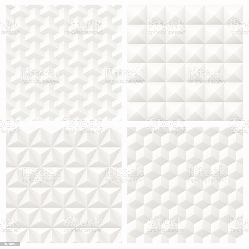 Abstract white 3d paper geometric pattern seamless background vector art illustration