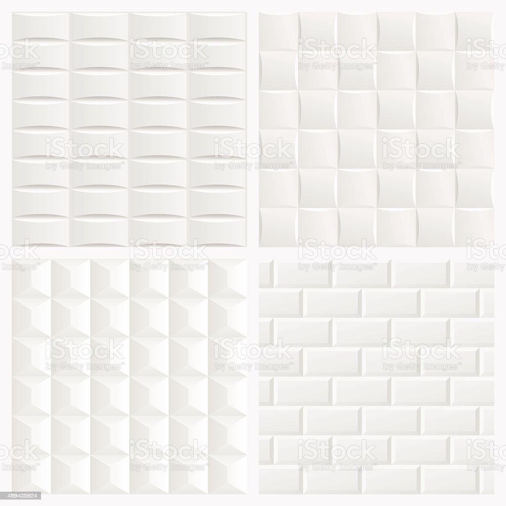 Abstract white 3d tile geometric pattern seamless background vector art illustration