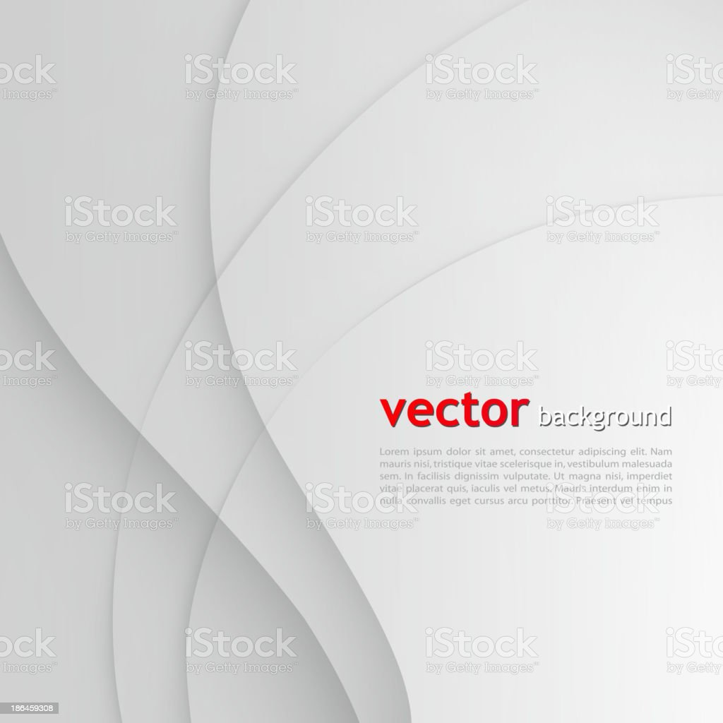 Abstract white and gray background with wavy lines vector art illustration