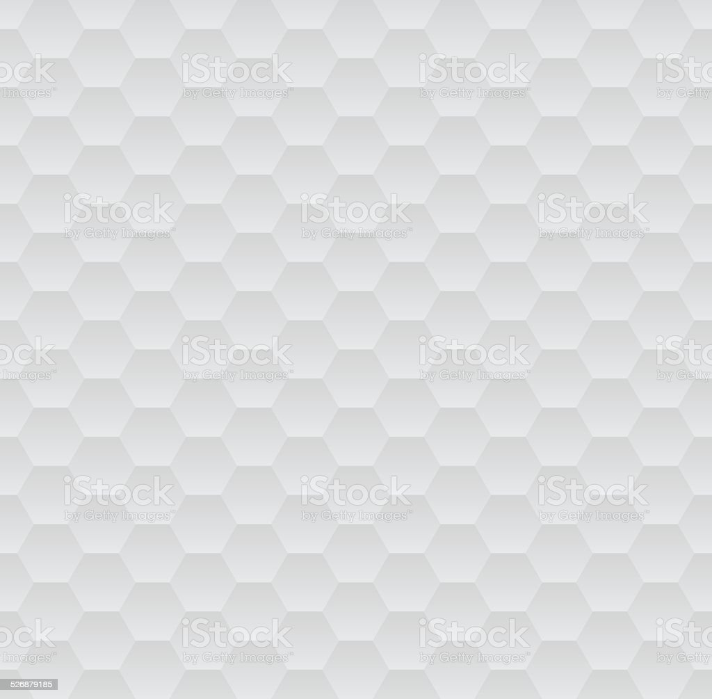 Abstract white and grey geometric hexagons seamless pattern vector art illustration