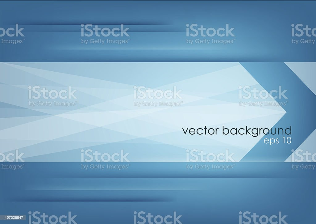 Abstract white arrow on blue horizontal background. vector art illustration
